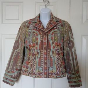 Embroidered fitted short jacket